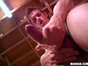 Spikey hair guy with big fat cock jerks off
