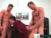 Incredible gay three some at the office