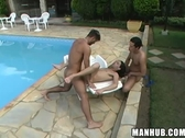 Guy gets fucked by 2 latinos by a pool
