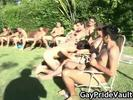 Outdoor gay gangbang..