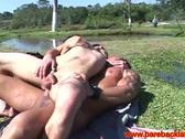 Latino gay guys close up barebacking