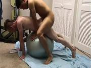 Asian stud makes good use of stability ball