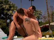 Gay muscle jock fucked outdoors