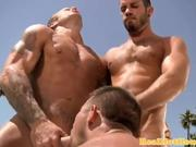 Pornstar jock spitroasted outdoors