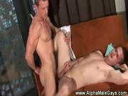 Masculine tattooed gay gets throat fucked