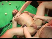 Bound &amp; fucked on pool table before a crowd