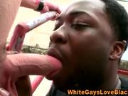 Black thug sucks white cock outdoors