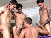 Dudes tight ass fucked by four cocks