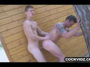 Hunks pounding ass outdoors