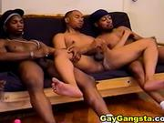 Three hot black thugs sucking dick & wanking