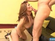 Busty shemale Carla ass fucked on sofa