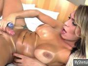 Huge tits tranny masturbates her asshole