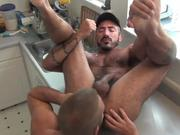 Gorgeous and hairy mature men fuck in kitchen