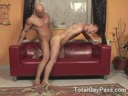 Hard barbacking gay couple at home