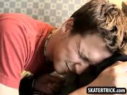 Skater hunk sucks on a cock
