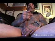 Tatted Latino skater beats off