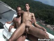 Latino men having RAW fun aboard a speed boat