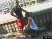 Sexy Muscle Stud Gets Ass on Public Sidewalk