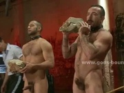 Two sexy guys tied in leish spanked