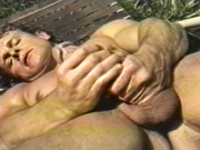 Solo masturbation by the pool