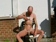 shaving myself,outside,in my backyard