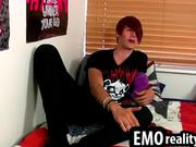 Emo guy teases his cock