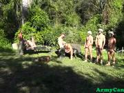 Basic training hunks sucking cock outdoors