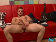 Muscular tattooed guy loves fapping solo