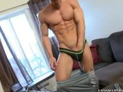 Bodybuilder loves to striptease