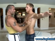 Muscular guy gives straight dude a massage