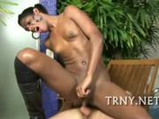 Black tranny gets fucked on lawnchair