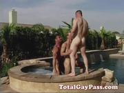 Horny hunks by the pool