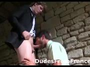 Horny gay French dude sucks guy in suits cock