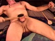Auto CBT, dude punishes his balls