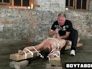 Tied up stud gets some wax