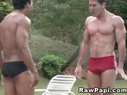 Muscled Latino Bareback Playtime
