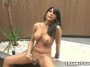Hot tranny plays with her dick