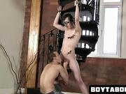 Tied up stud gets his cock sucked