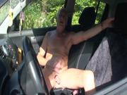 Old Man Wanking His Dick in Car