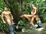 Hung stud gets asked to join 2 jungle fuckers