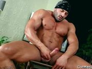 Beafed muscle stud jerking off cock