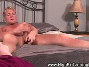 Blond Jerks Off on Bed