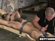 Restrained hunk getting sucked