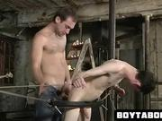 Tied up hunk fucked anally