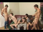 Six Delicious Guys Jerking And Blowjob Frenzy