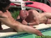Cock sucking by the pool