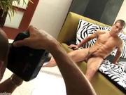 Strokes his cock till he cums