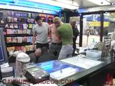 Blond gay face fucked in porn shop
