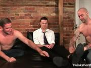Three hot horny gay guys have great BJs