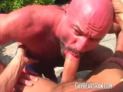 Mature bear sucking big stud dick